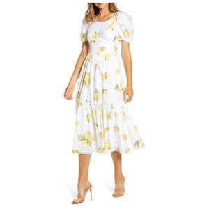 Rachel Parcell Puff Sleeve Midi Dress Lemon Maize